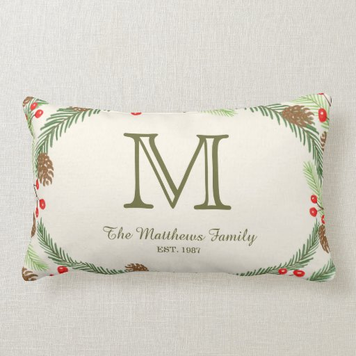 Pine & Holly Monogram Holiday Pillow