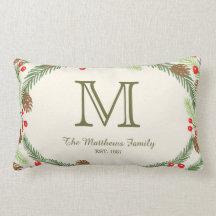 Pine & Holly Monogram Holiday Pillow Throw Pillow