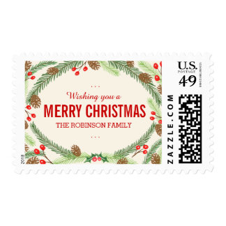 Pine & Holly Postage Stamps