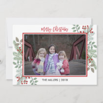 Pine & Holly Rustic Red Gingham Christmas Photo Holiday Card