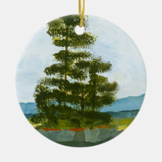 Pine Island Double-Sided Ceramic Round Christmas Ornament