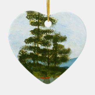 Pine Island Double-Sided Heart Ceramic Christmas Ornament