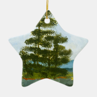 Pine Island Double-Sided Star Ceramic Christmas Ornament