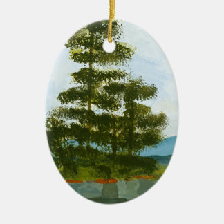 Pine Island Double-Sided Oval Ceramic Christmas Ornament