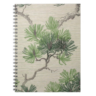 Pine needles and pine cone wallpaper, 1950-1960 note books
