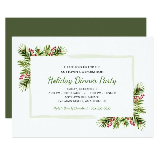 Pine Needles Business Holiday Dinner Party Invitation