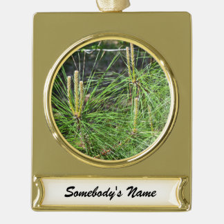 Pine Needles Gold Plated Banner Ornament