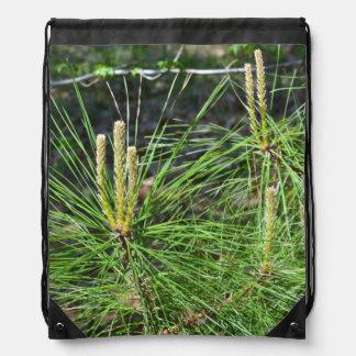 Pine Needles Drawstring Backpacks