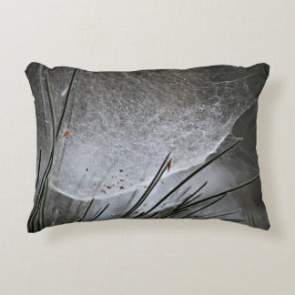 Pine Needles Spider Web Nature Photography Art Decorative Pillow