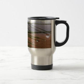 Pine needles with dewdrop tips travel mug