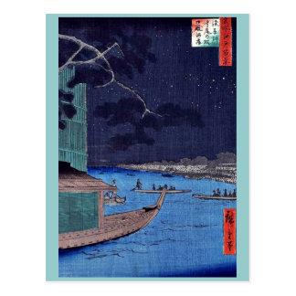 Pine of success,Asakusa River by Andō,Hiroshige Post Cards