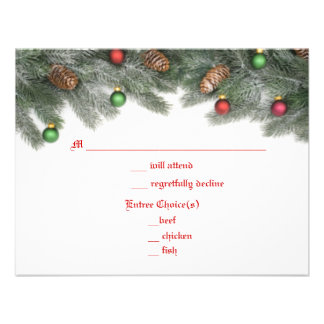 Pine Ornament Christmas Wedding Response Cards Invites