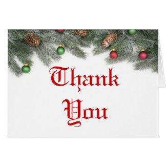Pine Ornament Christmas Wedding Thank You Cards
