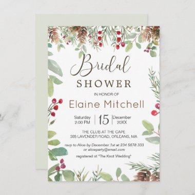 Pine Red Berry Winter Greenery Bridal Shower Invitation