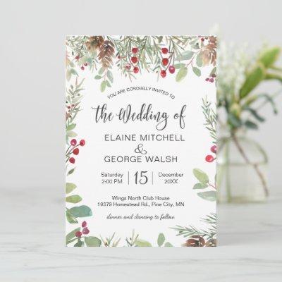 Pine Red Berry Winter Greenery Wedding Invitation