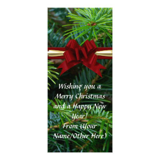 Pine/Red Bow Elegant Imprinted Business Christmas Customized Rack Card