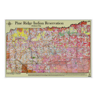 Pine Ridge Reservation Allottment Map w/districts Poster