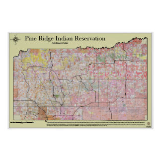 Pine Ridge Reservation Allottments (w/ topography) Poster
