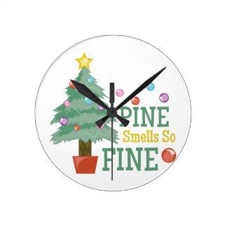 Pine Smells Fine Round Clock