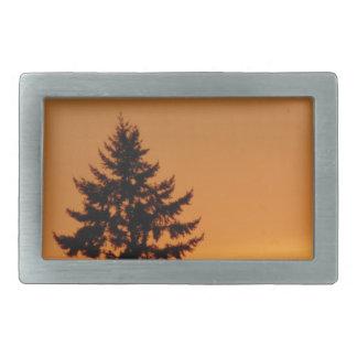 Pine Tree At Sunset Rectangular Belt Buckle