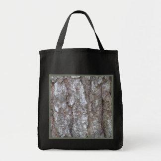 Pine Tree Bark Camo Wood Camouflage Reusable Black Canvas Bag
