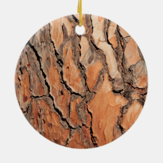 Pine Tree Bark Texture Ceramic Ornament