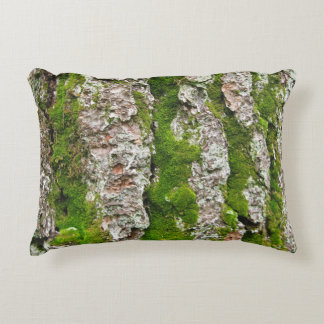 Pine Tree Bark With Moss Accent Pillow
