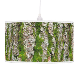Pine Tree Bark With Moss Ceiling Lamp