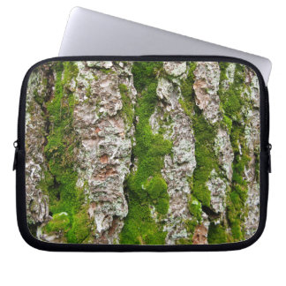 Pine Tree Bark With Moss Computer Sleeve