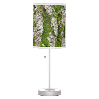 Pine Tree Bark With Moss Desk Lamp
