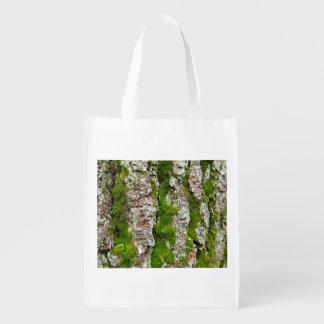 Pine Tree Bark With Moss Grocery Bag