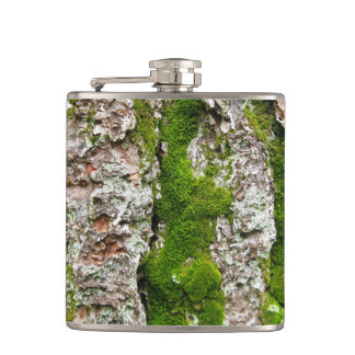 Pine Tree Bark With Moss Hip Flask