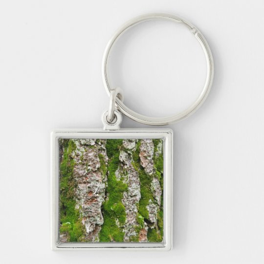 Pine Tree Bark With Moss Keychain