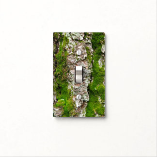 Pine Tree Bark With Moss Light Switch Cover