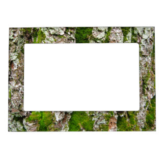 Pine Tree Bark With Moss Magnetic Photo Frame