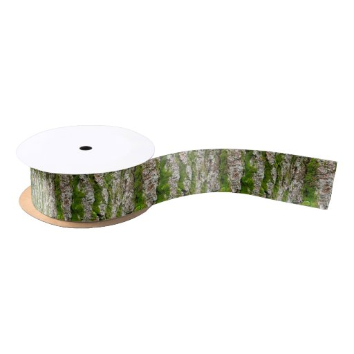 Pine Tree Bark With Moss Satin Ribbon