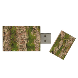 Pine Tree Bark With Moss Wood Flash Drive