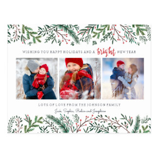 Pine Tree Berries | Postcard | Holiday Photo Card