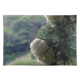 Pine tree branch dripping with resin cloth placemat