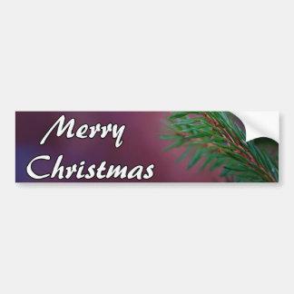 Pine tree branch Merry Christmas card Bumper Sticker