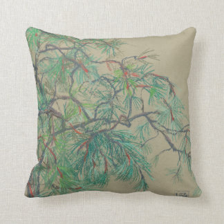 """""""Pine-tree branch"""", pastel drawing in green tones Throw Pillow"""