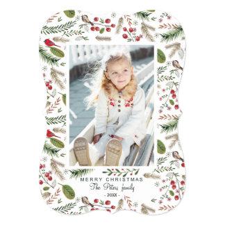 Pine Tree Christmas Birds | Holiday Photo Card