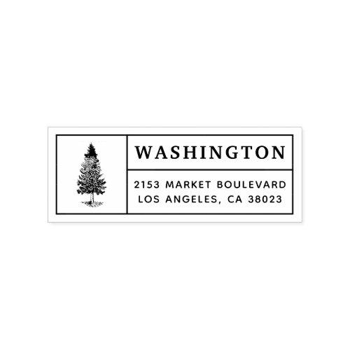 Pine Tree  Custom Family Name Return Address Rubber Stamp
