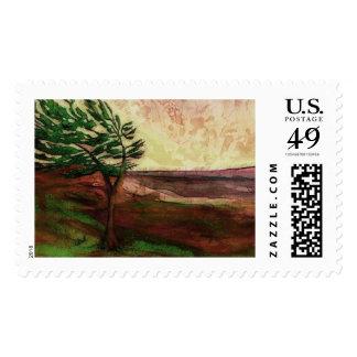 Pine tree, Earth landscape art stamp