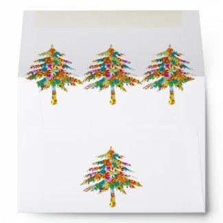 Pine Tree Flower Wedding Envelopes envelope