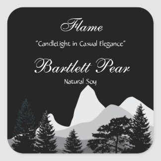 Pine Tree Forest Candle Label Square Sticker