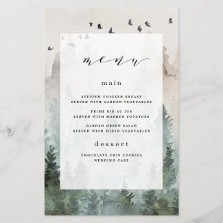 Pine Tree Forest Rustic Themed Wedding Menu Cards