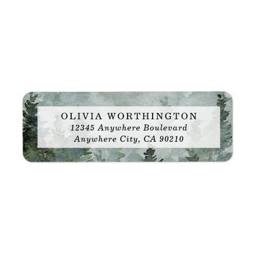 Pine Tree Forest Rustic Watercolor Themed Wedding Label