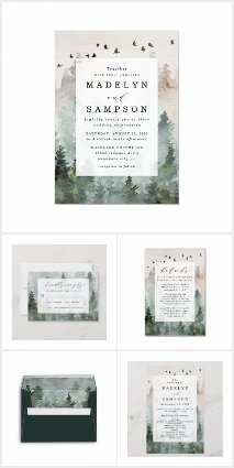 Pine Tree Forest Rustic Wedding Invitations Set