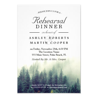 Pine Tree Forest Winter Wedding Rehearsal Dinner Card